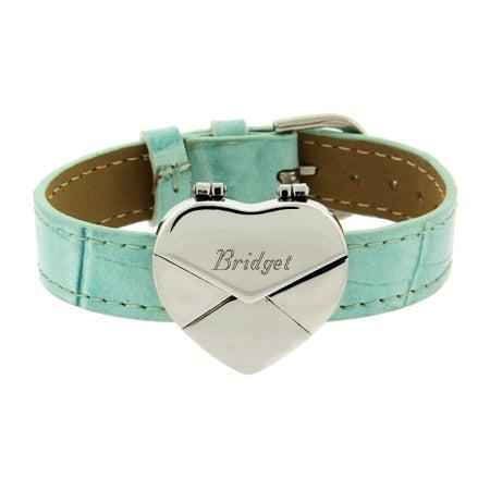 Engravable Blue Secret Message Heart Envelope Locket Bracelet | Eve's Addiction®