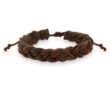 Faceted Brown Braided Leather Bracelet | Eve's Addiction®