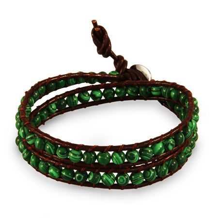 Chen Rai Genuine Green Agate Stone Wrap Bracelet | Eve's Addiction®