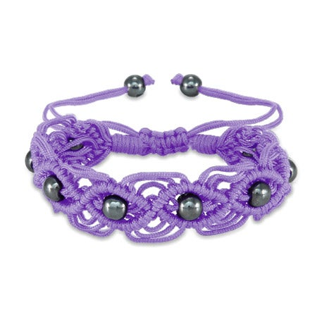 Purple Macrame Friendship Bracelet with Beads | Eve's Addiction®
