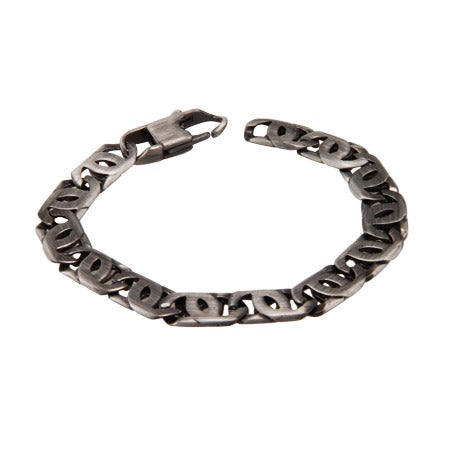 Men's Stainless Steel Marina Link Bracelet In Brushed Finish | Eve's Addiction®