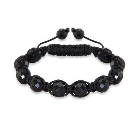 10mm Black Faceted Shamballa Inspired Bracelet | Eve's Addiction®