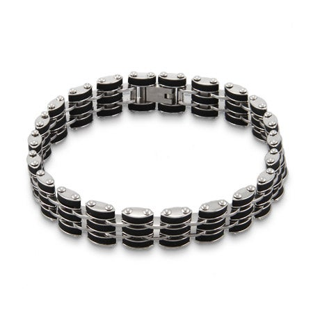 Men's Stainless Steel with Black Rubber Links Bracelet | Eve's Addiction®