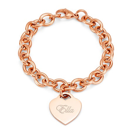 Engravable Rose Gold Heart Tag Bracelet | Eve's Addiction®