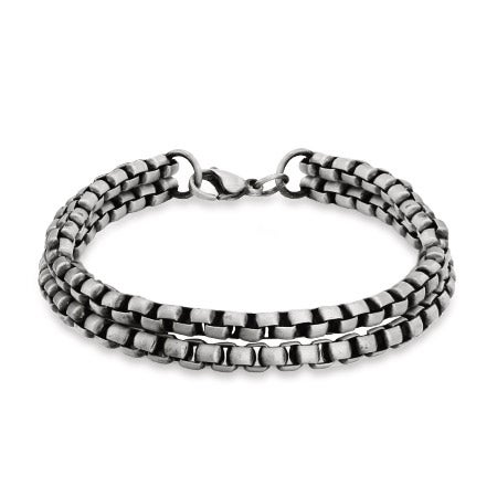 Men's Double Strand Wide Rolo Bracelet with Brushed Finish | Eve's Addiction®