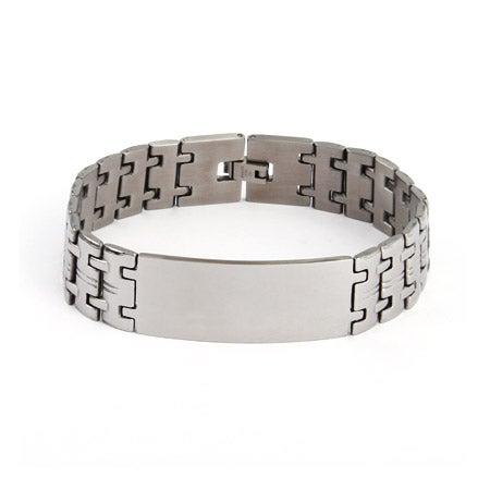 Men's Wide Linked Engravable Stainless Steel ID Bracelet | Eve's Addiction®