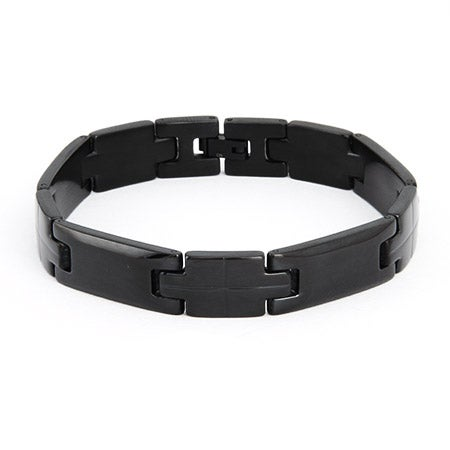 Men's Black Plate Stainless Steel Linked Bracelet | Eve's Addiction®