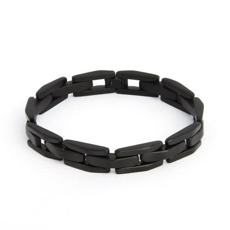 Men's Black Plate Stainless Steel Link Bracelet | Eve's Addiction®