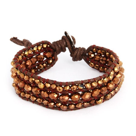Chen Rai Bronze Beaded Brown Leather Single Wrap Bracelet | Eve's Addiction®