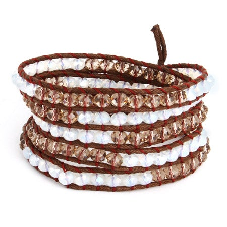 Chen Rai Cocoa and Quartz Leather Long Wrap Bracelet | Eve's Addiction®