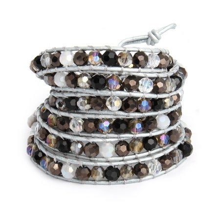 Chen Rai Jeweled Silver Leather Long Wrap Bracelet | Eve's Addiction®