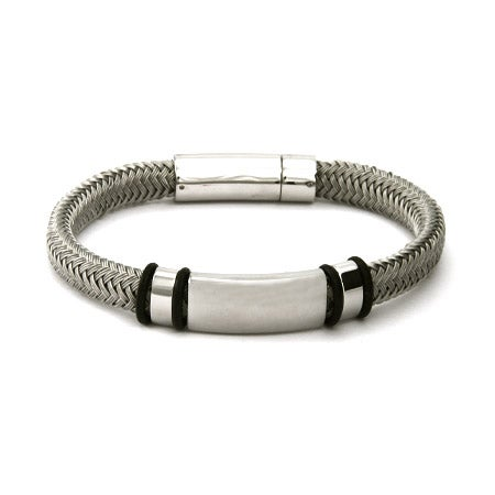 Men's Braided Platinum Gray Cord Engravable ID Bracelet | Eve's Addiction®
