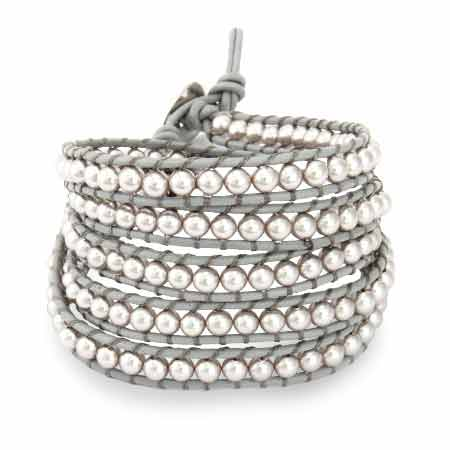 Chen Rai Gray Pearl Beaded Wrap Bracelet | Eve's Addiction®