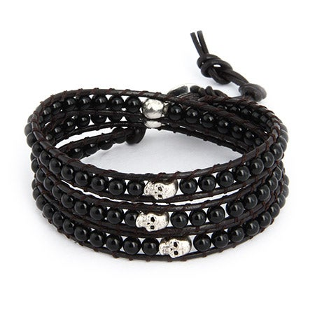 Chen Rai Onyx and Skull Wrap Bracelet on Dark Brown Leather | Eve's Addiction®