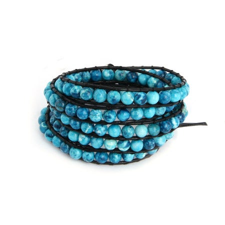 Chen Rai Fiery Blue Jasper Bead Long Wrap Bracelet | Eve's Addiction®
