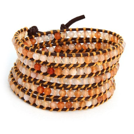 Chen Rai Golden Shades of Agate Long Wrap Bracelet | Eve's Addiction®