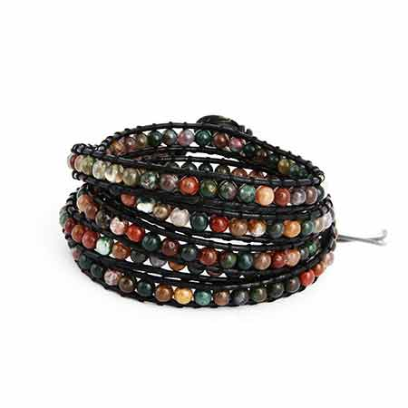 Chen Rai Earth Tone Jasper Bead Long Wrap Bracelet | Eve's Addiction®
