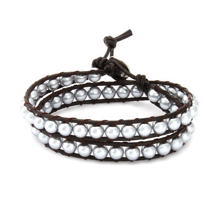 Chen Rai Gray Shell Pearl Wrap Bracelet on Brown Leather | Eve's Addiction®