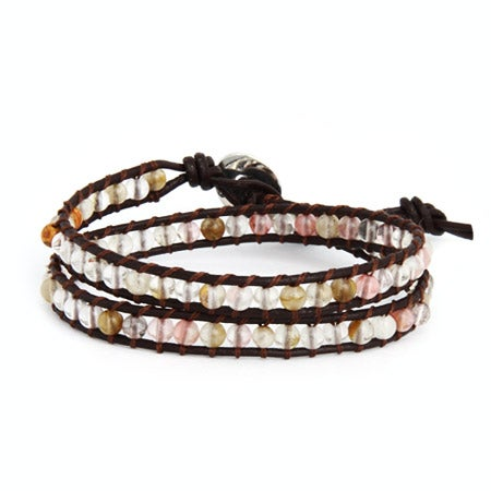 Chen Rai Cherry Quartz Double Row Wrap Bracelet | Eve's Addiction®