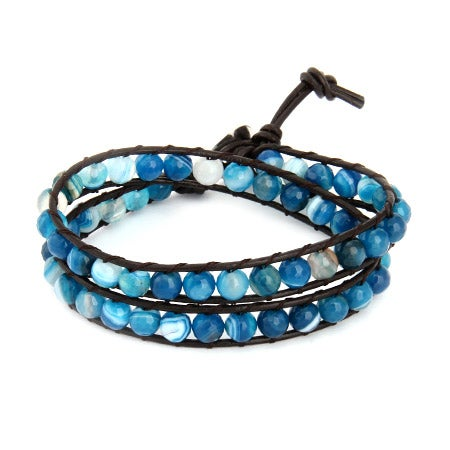Chen Rai Blue Bead Agate Wrap Bracelet | Eve's Addiction®