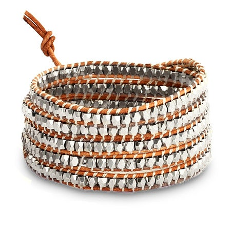 Chen Rai Silver Long Wrap Bracelet on Beige Leather | Eve's Addiction®