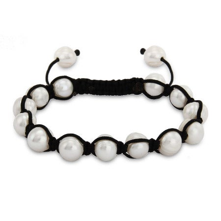 White Potato Pearl Shamballa Inspired Bracelet | Eve's Addiction®