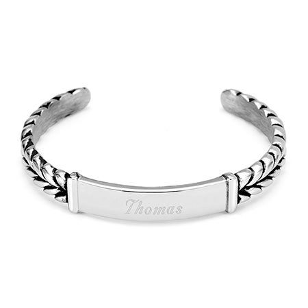 Engravable Braided Design ID Cuff Bracelet