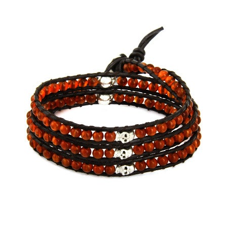 Chen Rai Carnelian Bead and Skulls Wrap Bracelet | Eve's Addiction®