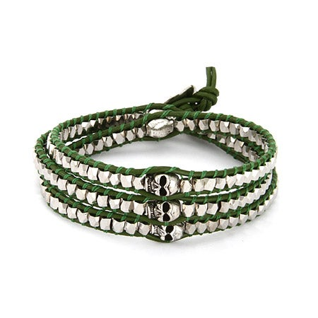Chen Rai Silver Nuggets and Skull Wrap Bracelet on Green Leather | Eve's Addiction®