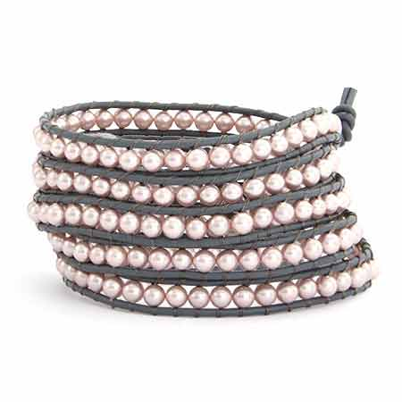 Chen Rai Five Row Pink Pearl Wrap Bracelet | Eve's Addiction®