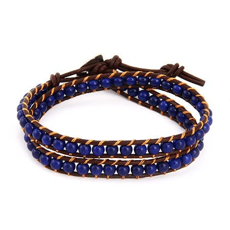 Chen Rai Sapphire Blue Bead Wrap Bracelet on Brown Leather | Eve's Addiction®