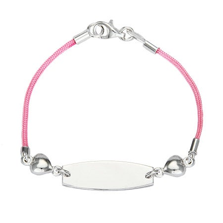 Kid's Pink Silk Cord ID Bracelet with Heart Charms | Eve's Addiction®