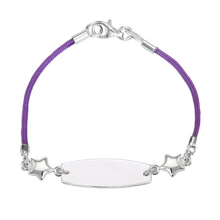 Kid's Purple Silk Cord ID Bracelet with Star Charm | Eve's Addiction®