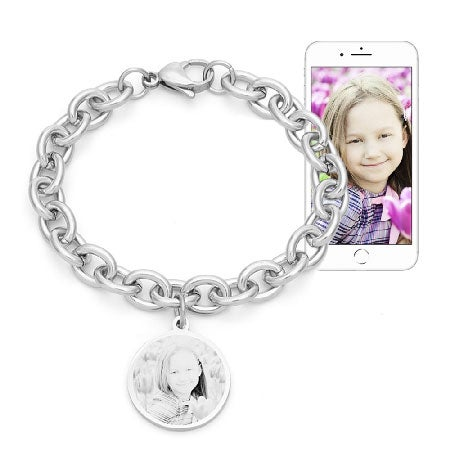 Custom Stainless Steel Round Tag Photo Bracelet