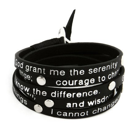 Serenity Prayer Black Leather Wrap Bracelet | Eve's Addiction®