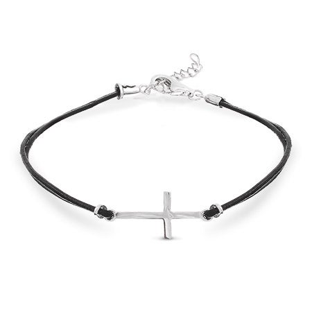 Sterling Silver Sideways Cross Black Leather Bracelet | Eve's Addiction®
