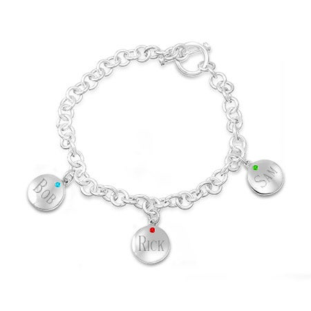 Engravable Round Tag Toggle Birthstone Bracelet