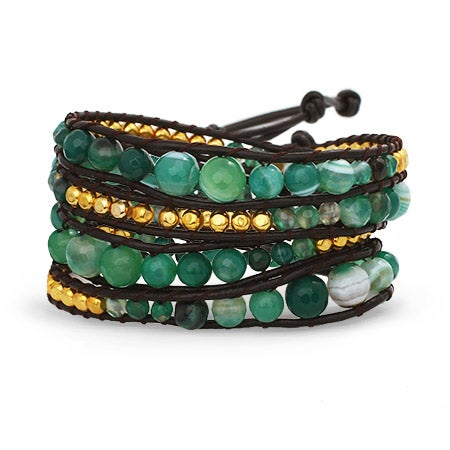 Jade and Gold Wrap Bracelet | Eve's Addiction®