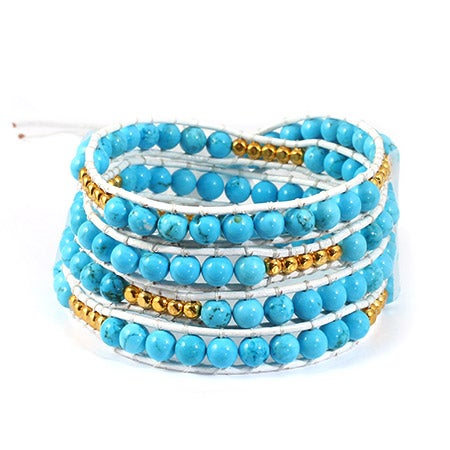 Chen Rai Turquoise and Gold Wrap Bracelet | Eve's Addiction®