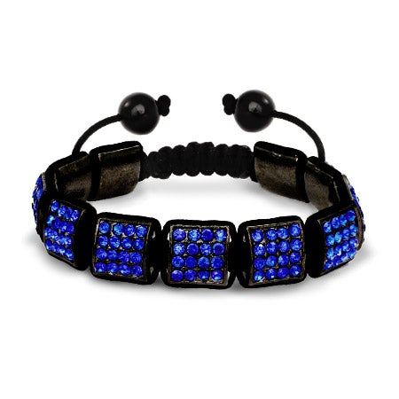 Royal Blue Square Cut Crystal Shamballa Inspired Bracelet | Eve's Addiction®