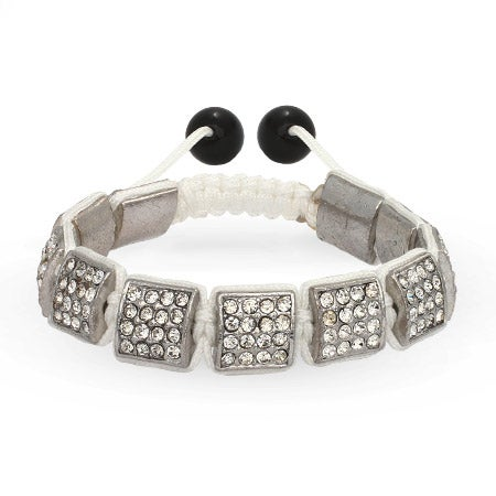 Diamond Crystal Ice Square Cut Shamballa Inspired Bracelet | Eve's Addiction®