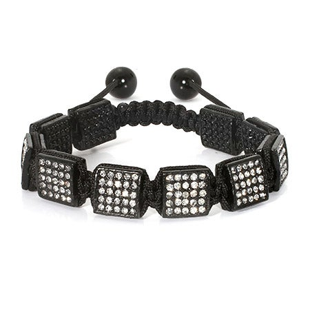 Black Ice Square Cut Shamballa Inspired Bracelet | Eve's Addiction®