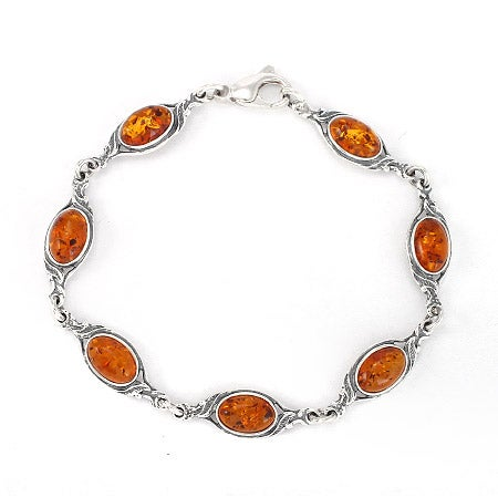 Sterling Silver Floral Design Baltic Amber Bracelet | Eve's Addiction®