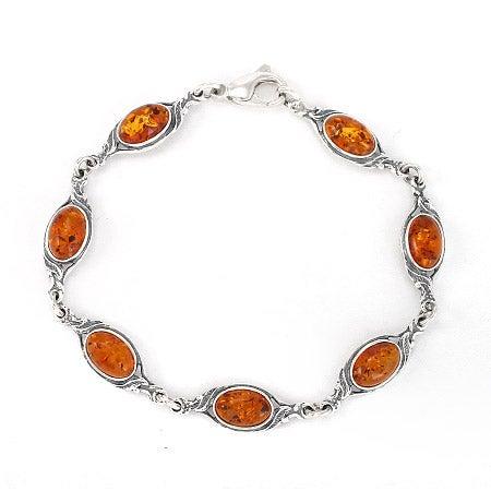 Sterling Silver Floral Design Baltic Amber Bracelet | Eve's Addiction®