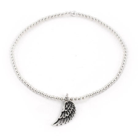 Sterling Silver Beaded Angel Wing Charm Bracelet | Eve's Addiction®