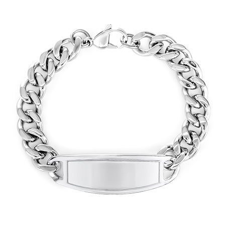 Engravable Wide Oval ID Stainless Steel Bracelet | Eve's Addiction®