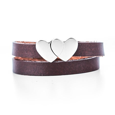 Engravable Heart Brown Leather Wrap Bracelet