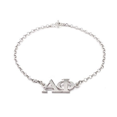 Alpha Phi Letter Bracelet with Sterling Silver Rolo Chain   Eve's Addiction®