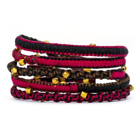 Chen Rai Red and Brown Gold Beaded Wrap Bracelet | Eve's Addiction®