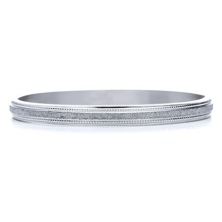 Engravable Glittered Finish Oval Bangle | Eve's Addiction®